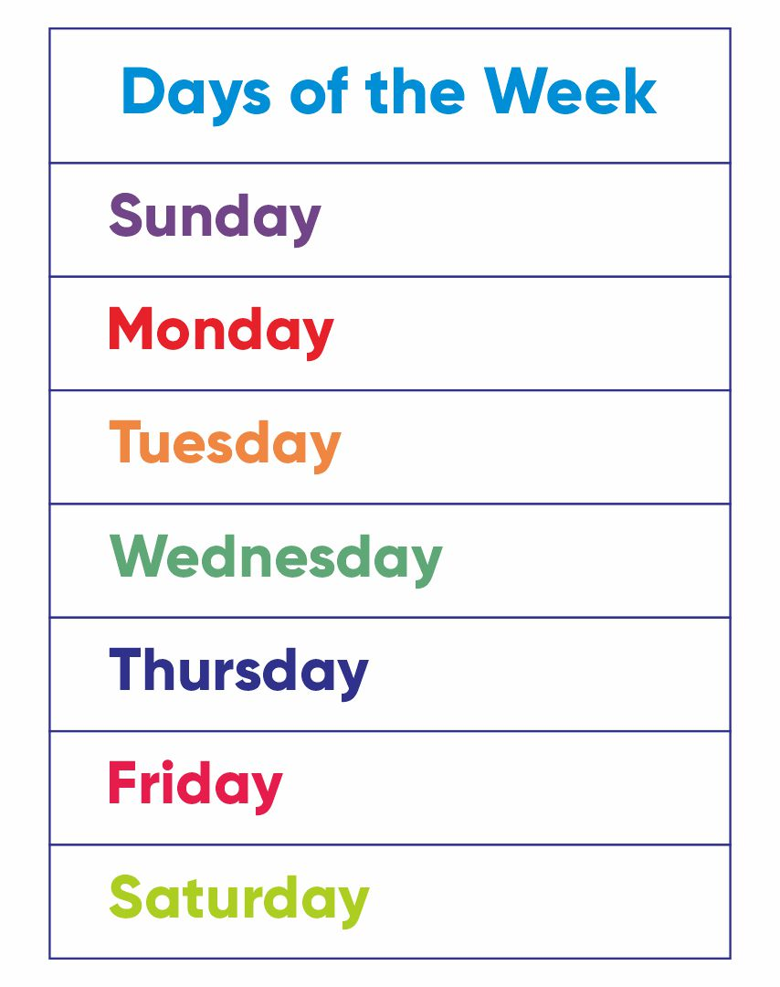 7 Images of Printable Days Of The Week Chart
