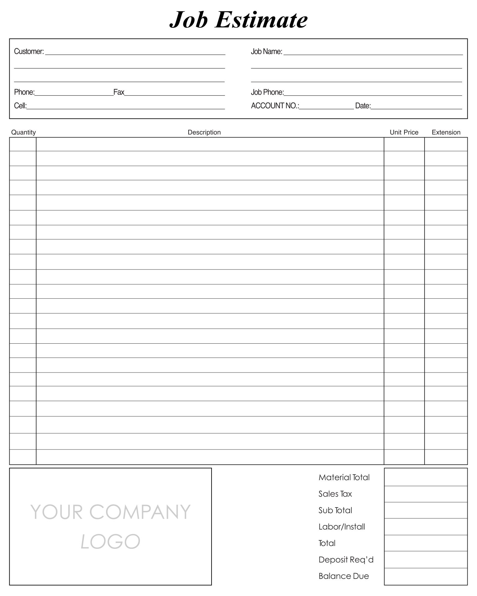 Printable Estimate Forms Templates