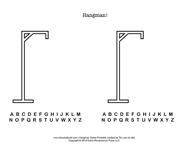 7 Images of Hangman With Free Printable Letters