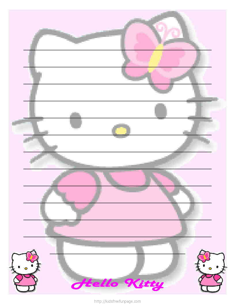 8 Images of Hello Kitty Printable Stationary