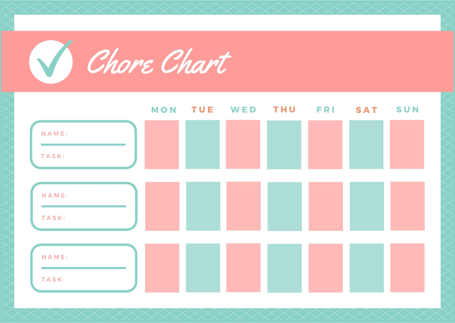 Printable Household Chore Charts