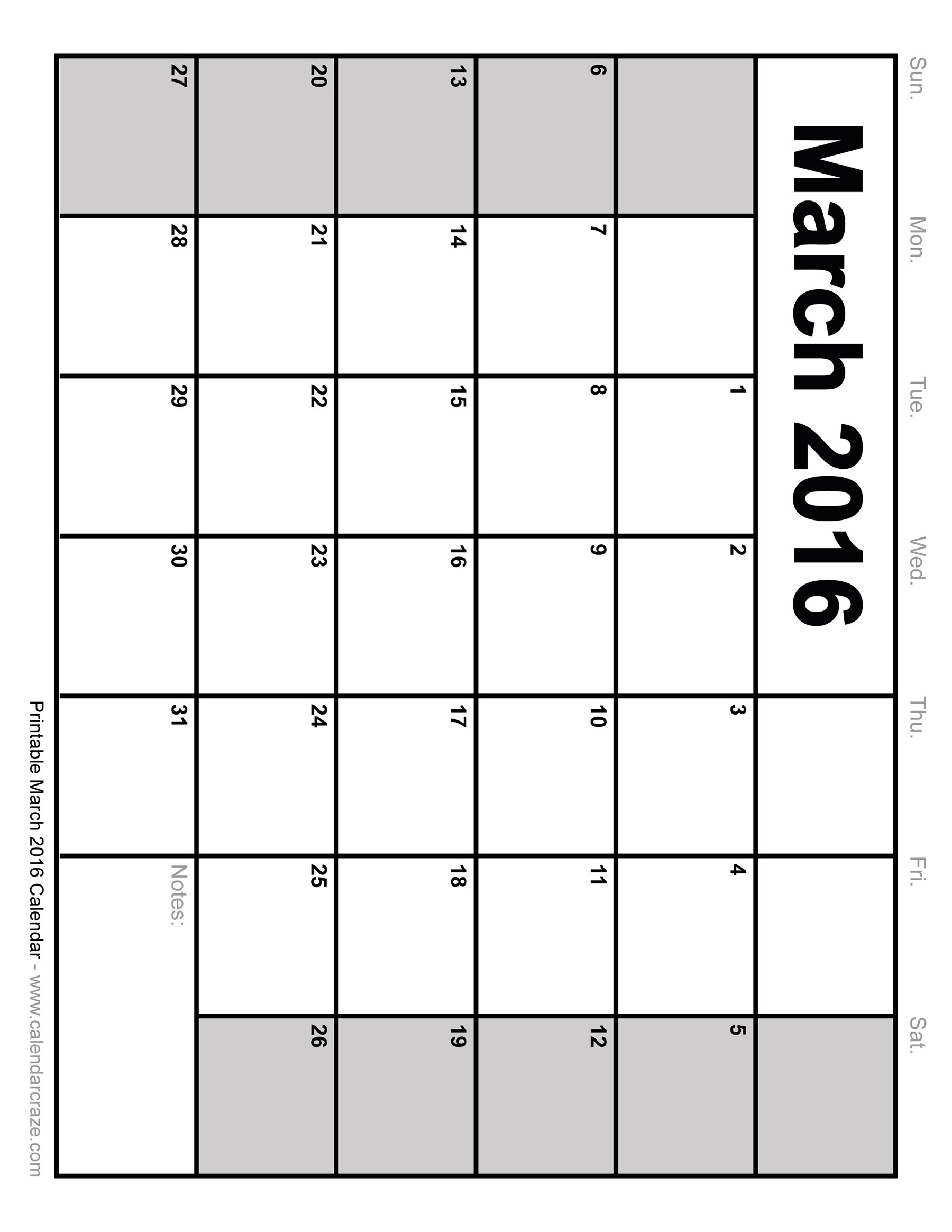 6 Images of March 2016 Printable Weekly Calendar