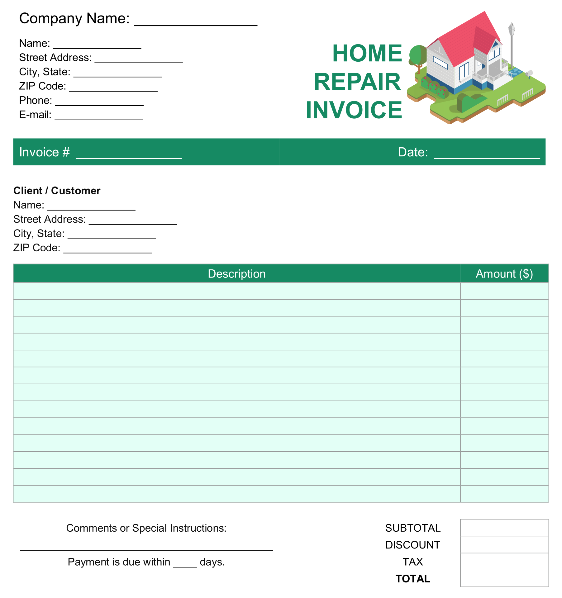 Free Roofing Estimate Template from www.printablee.com