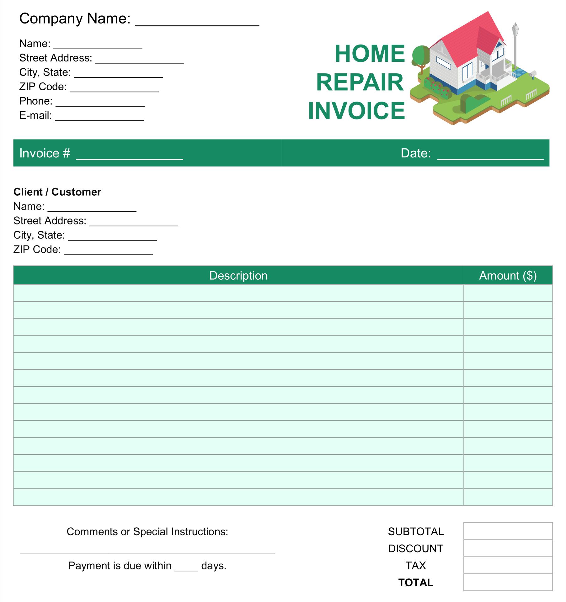 Printable Roof Estimate Template