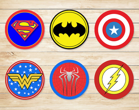 6 Images of Printable Superhero Cupcake Toppers