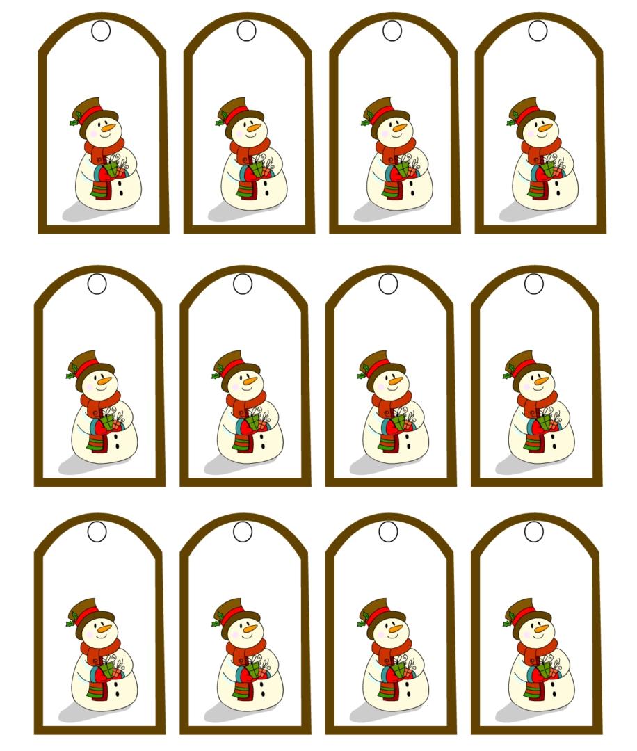 Printable Vintage Gift Tags Snowman