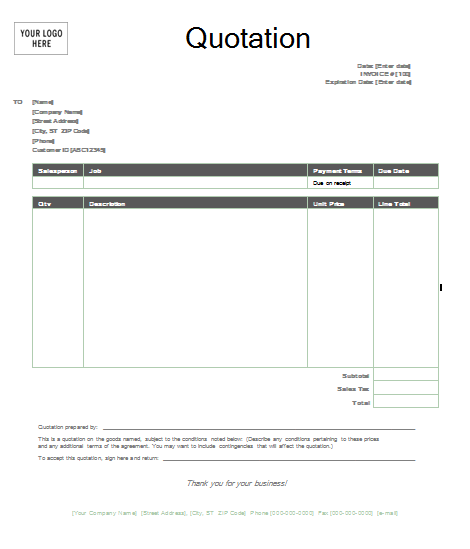 8 Images of Quotation Template Free Printable