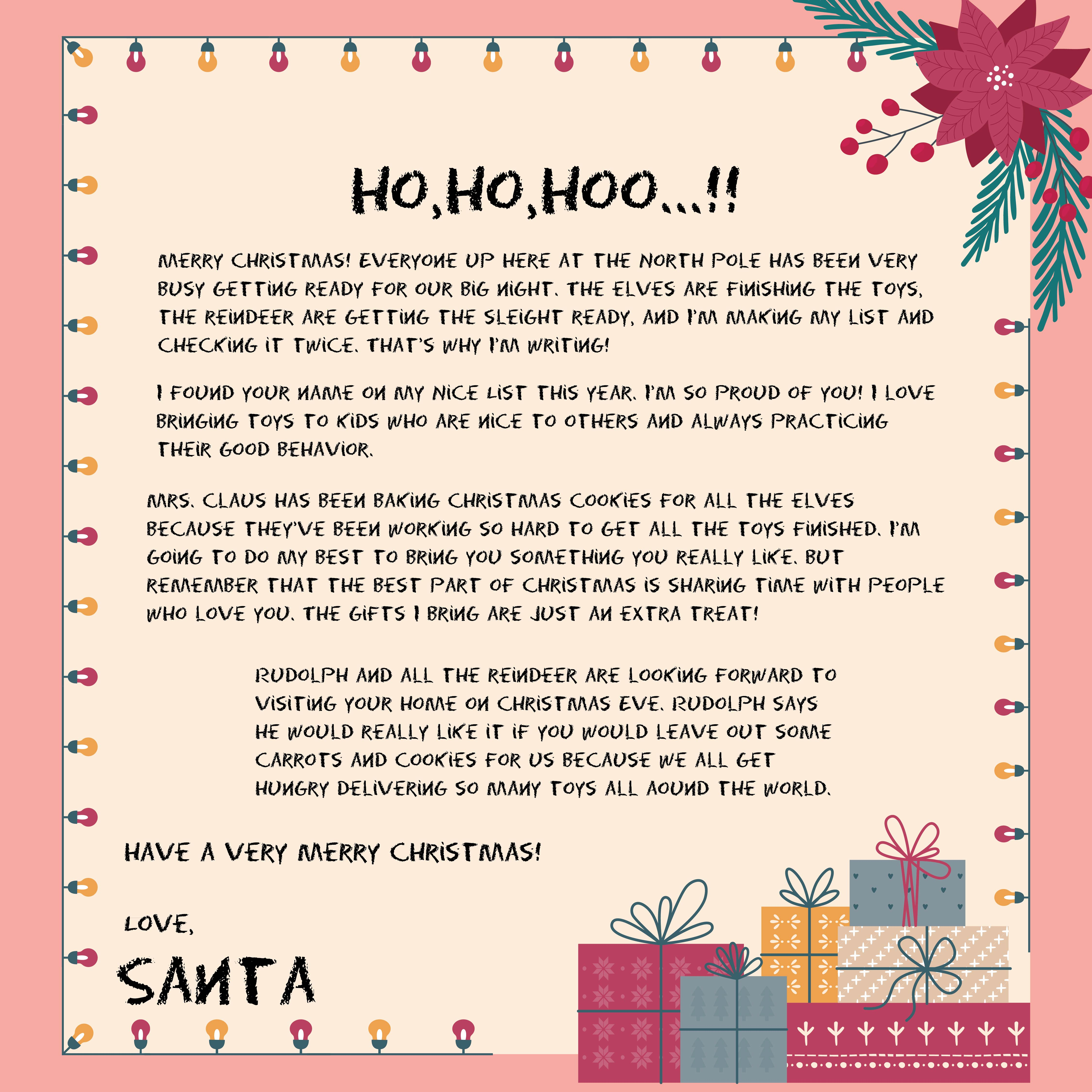 9 Best Images Of Letters From Santa Christmas Printable