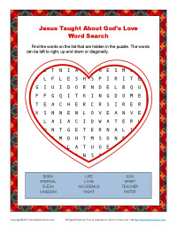 4 Images of God Love Word Search Printable