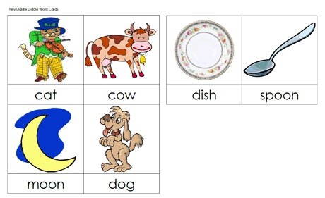 4 Images of Hey Diddle Diddle Sequencing Printable