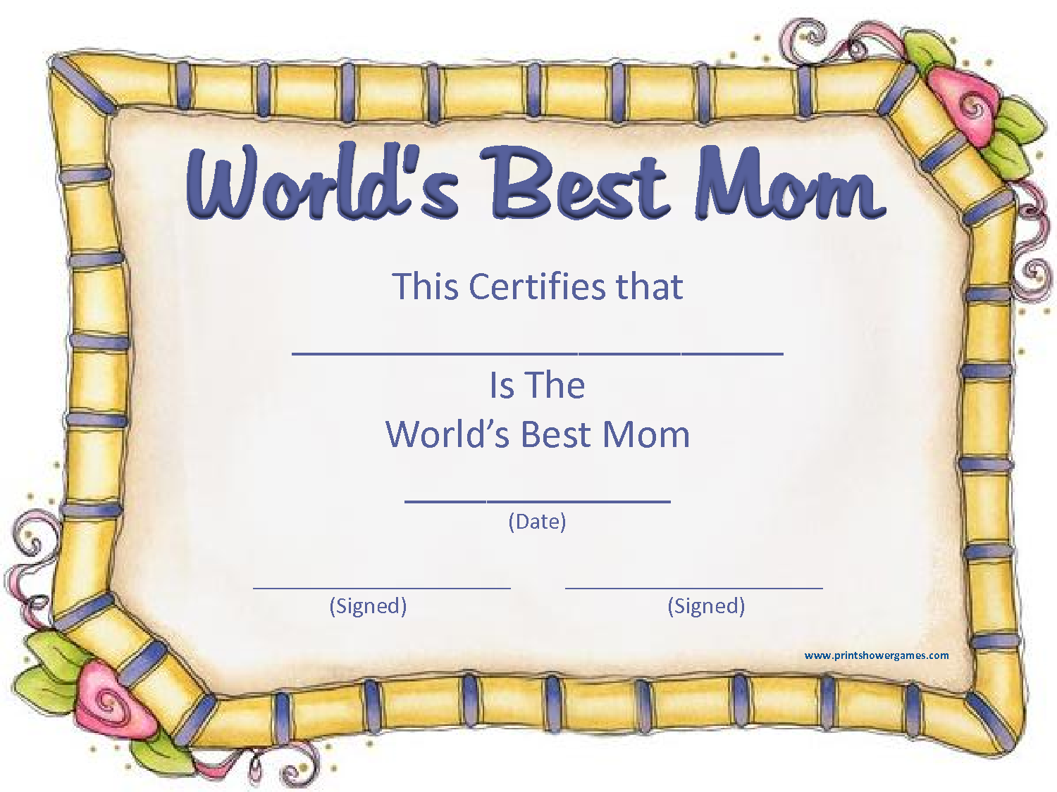 World S Best Mom Certificate Template Pictures to Pin – Printable Congratulations Certificate