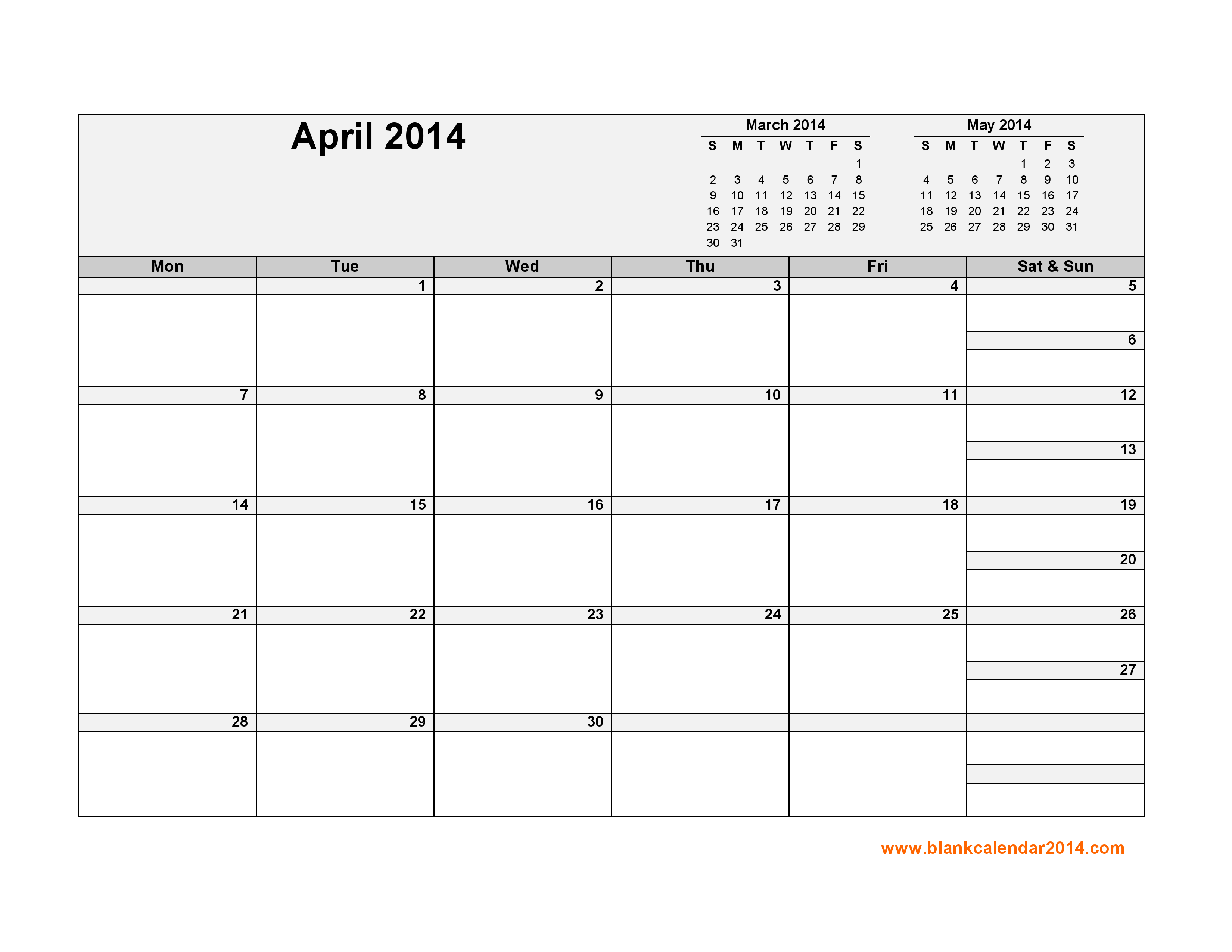 8 Images of April And May 2014 Calendar Printable Landscape