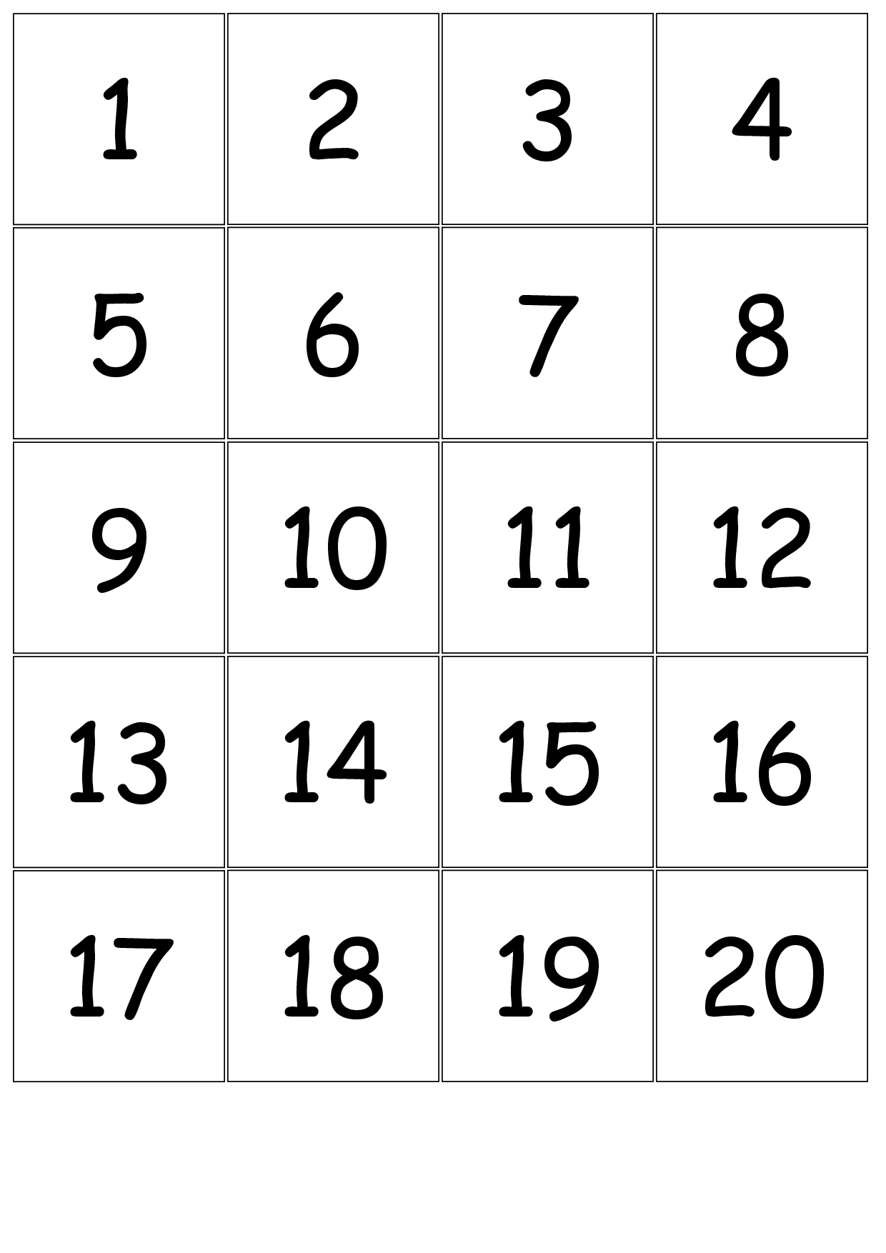 5 best images of printable number cards 1 20 number for Template for numbers 1 100