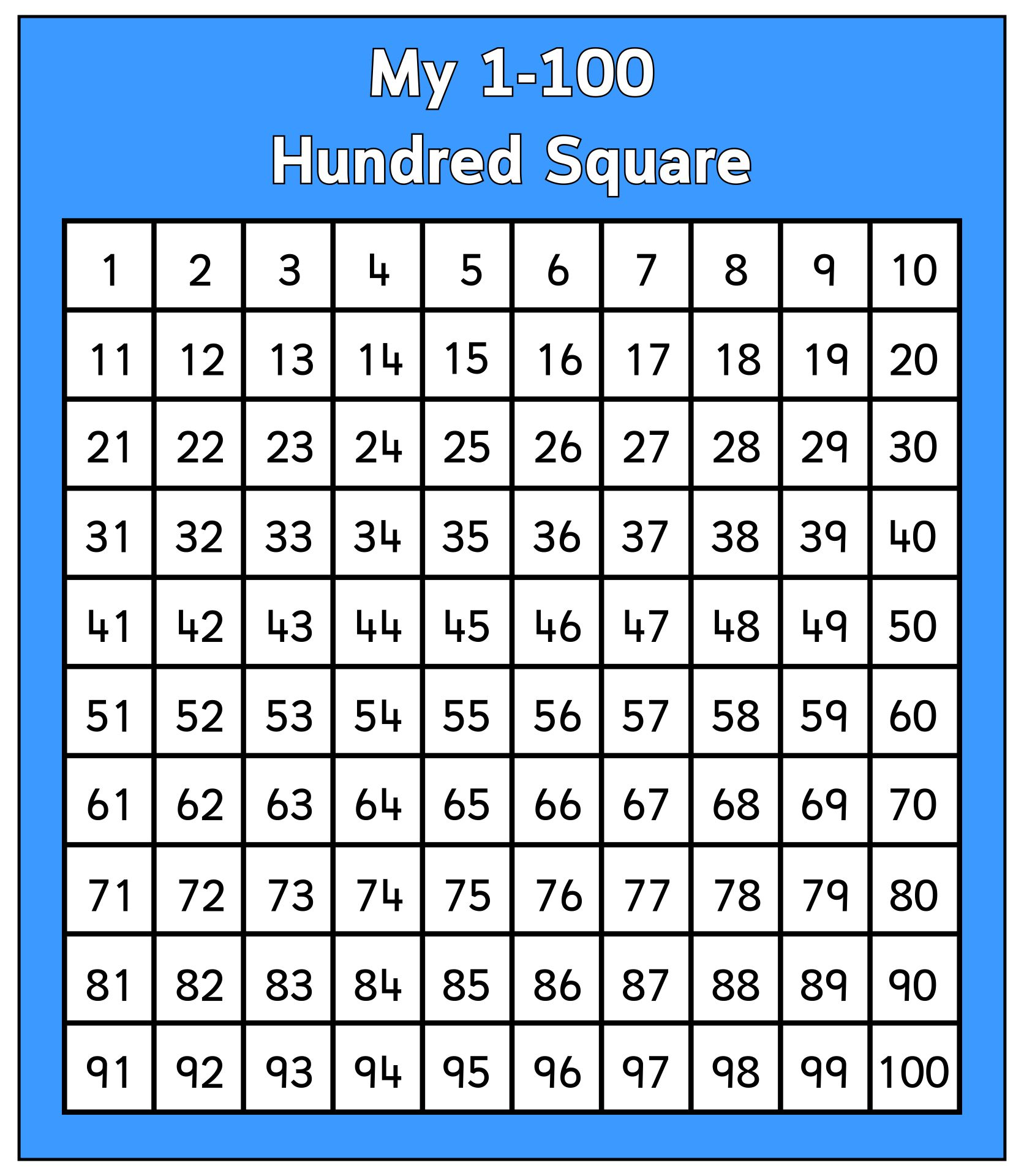Printable 100 Number Square