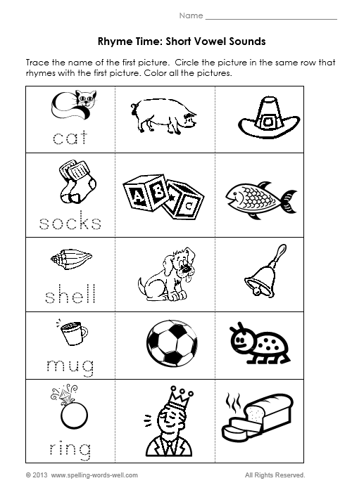 Printables Free Printable Rhyming Worksheets For Kindergarten 6 best images of free printable rhyming words worksheets kindergarten worksheet