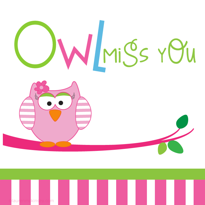 6 Images of Owl Miss You Printable Template