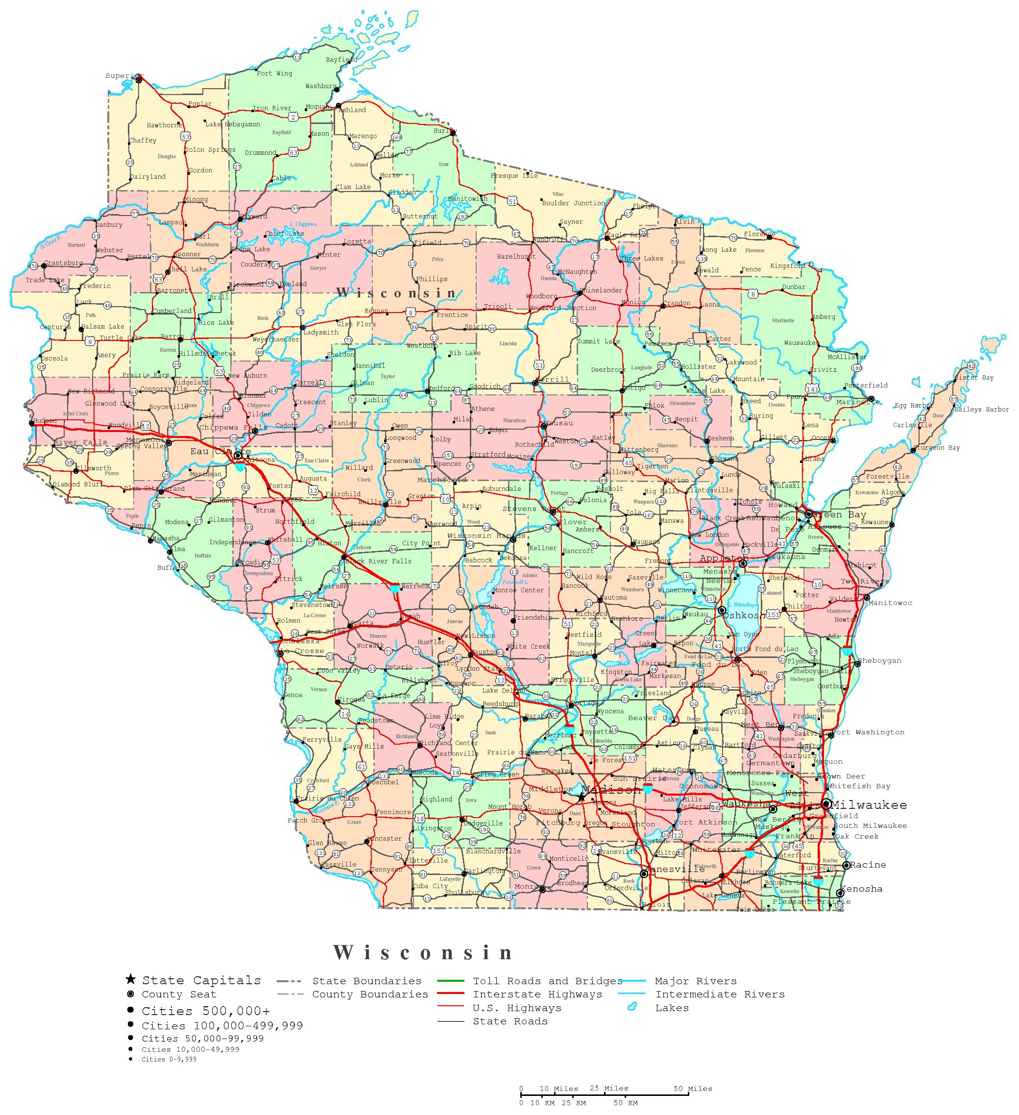 6 Images of Wisconsin State Map Printable