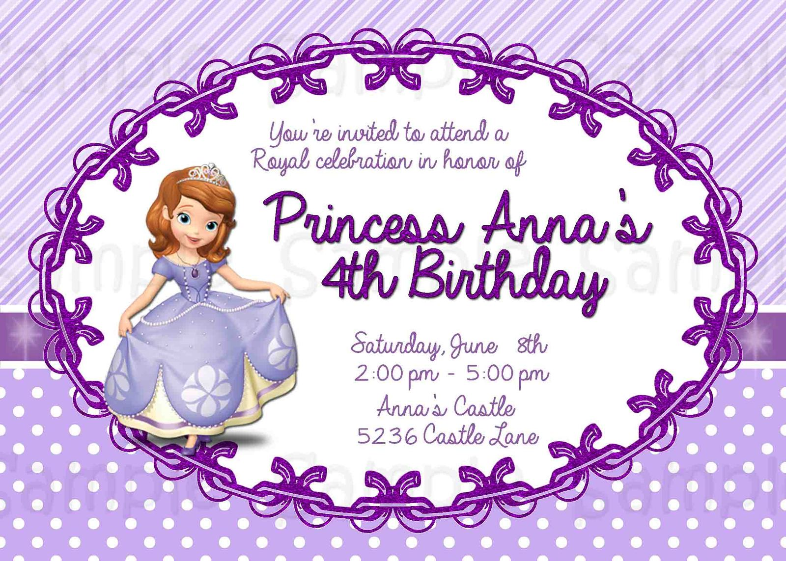 8 best images of free printable princess sofia invitations sofia the first birthday party. Black Bedroom Furniture Sets. Home Design Ideas