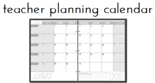 Teacher Planning Calendar Template