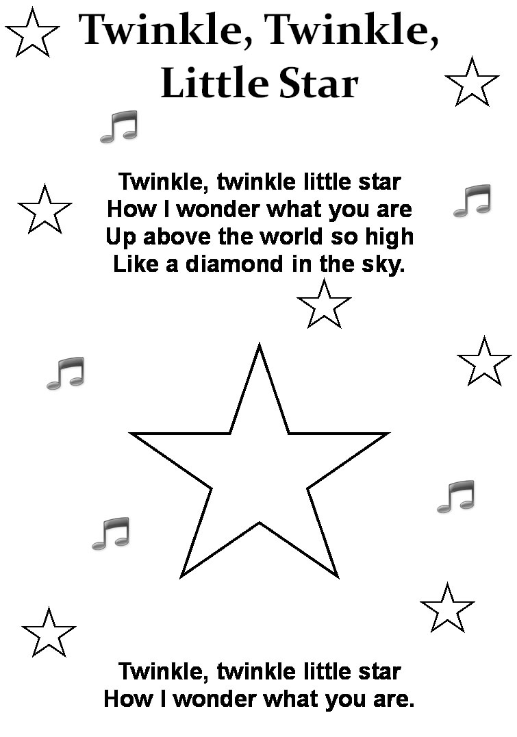 4 Images of Twinkle Twinkle Little Star Printables