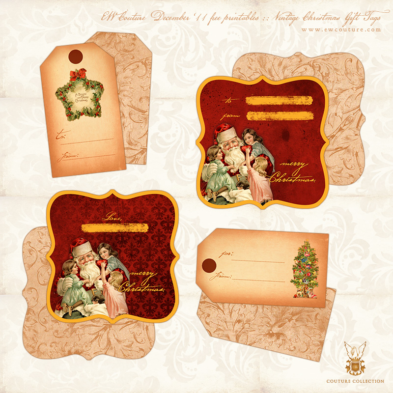 5 Images of Printable Vintage Gift Tags