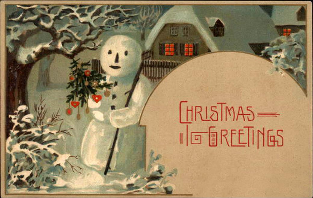 Vintage Christmas Postcard Snowman