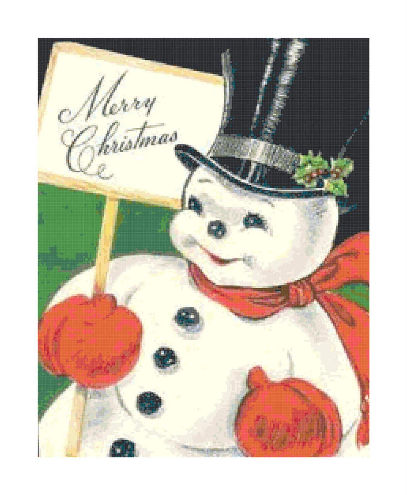 Vintage Retro Christmas Snowman