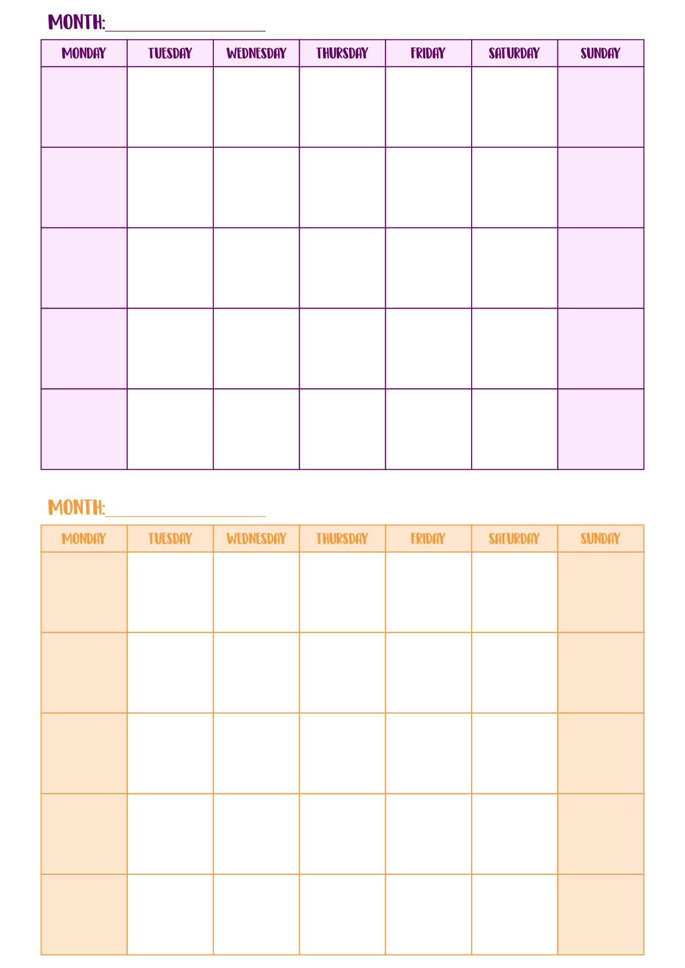 double month calendar template 5 best images of two month calendar printable two page