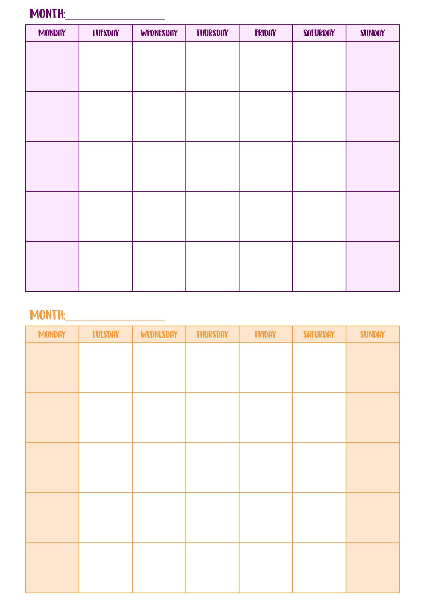 2 Month Blank Calendar Template
