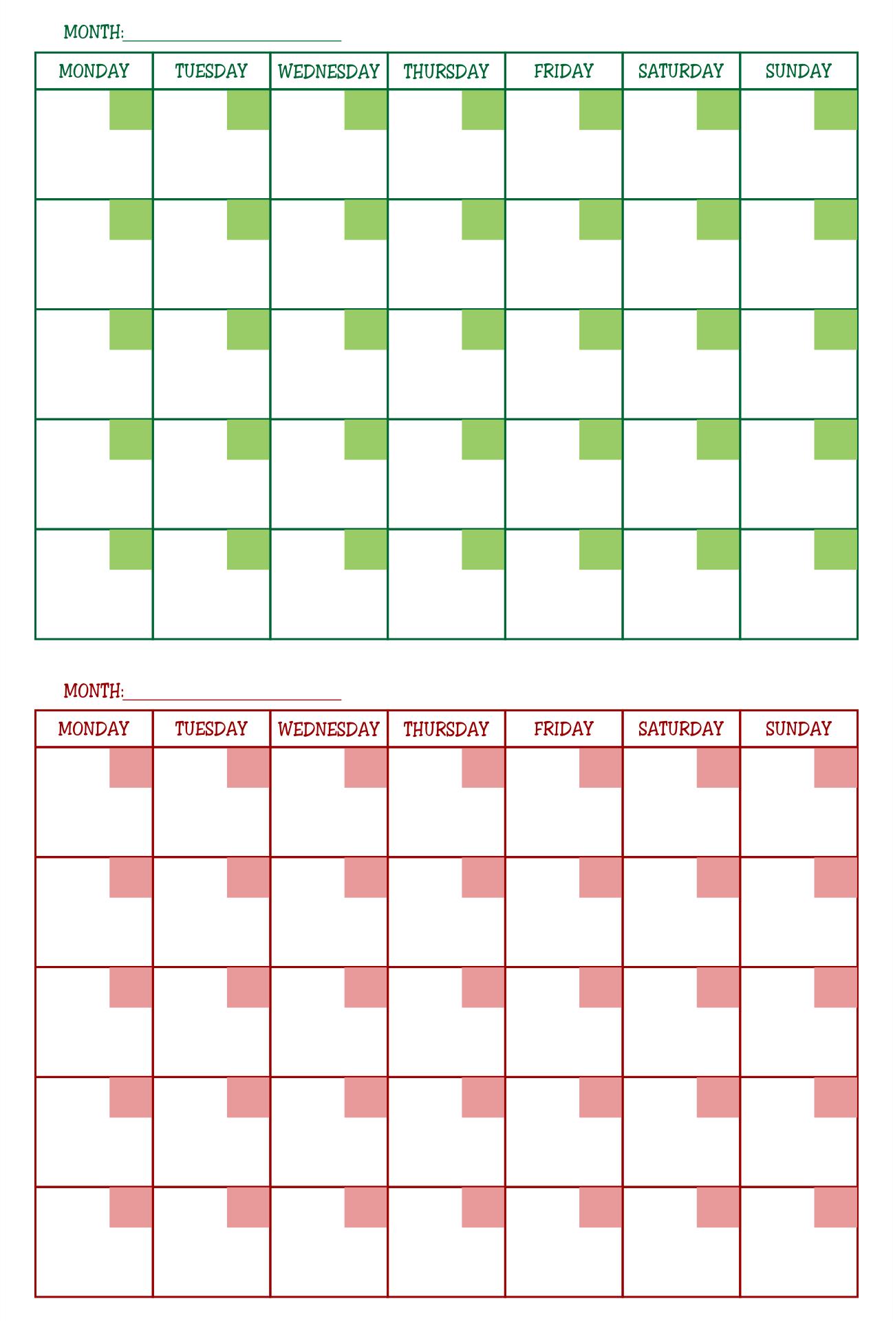 2 Month Calendar Printable Free
