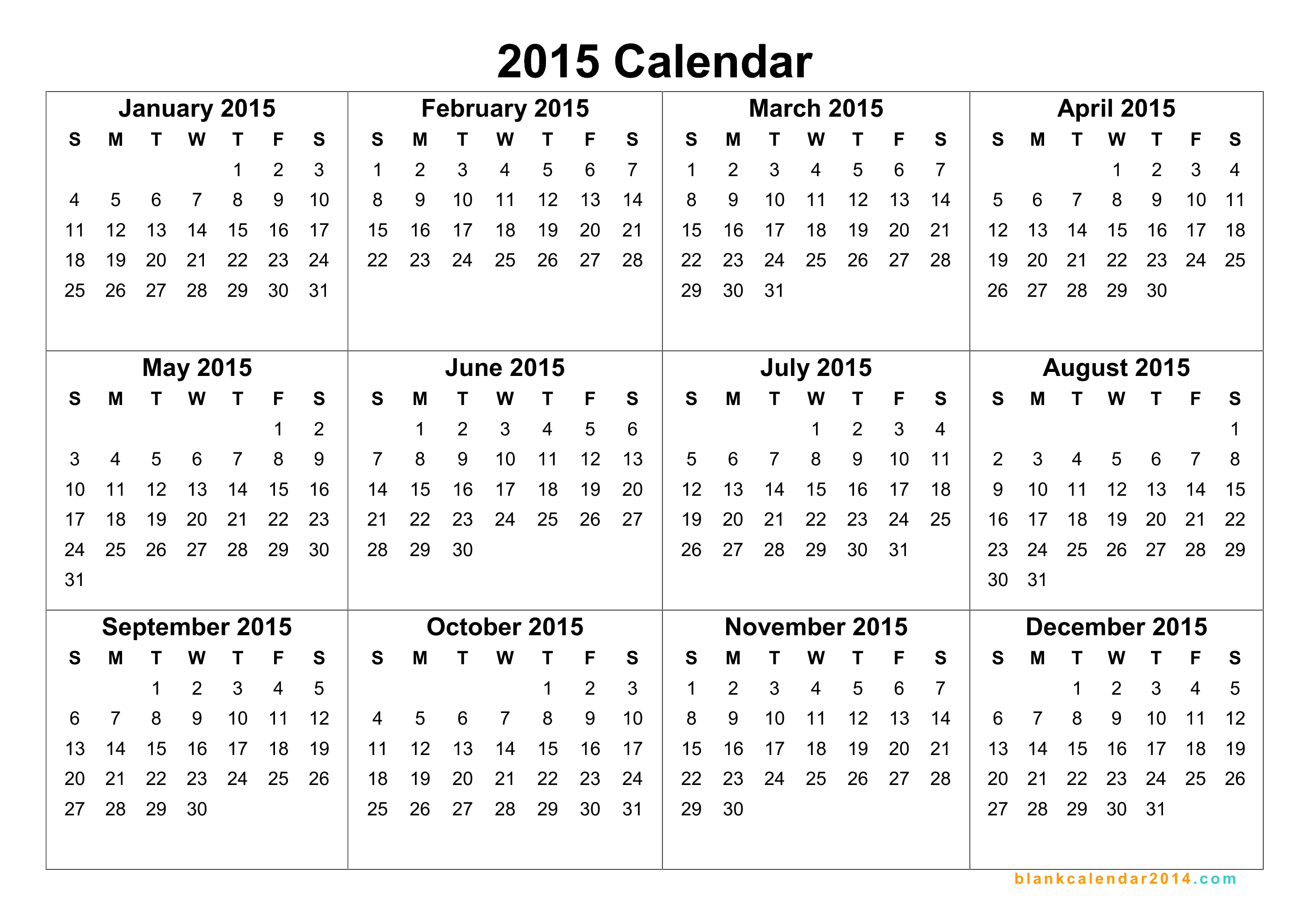 6 Images of Free Printable 2015 2016 Yearly Calendar Template