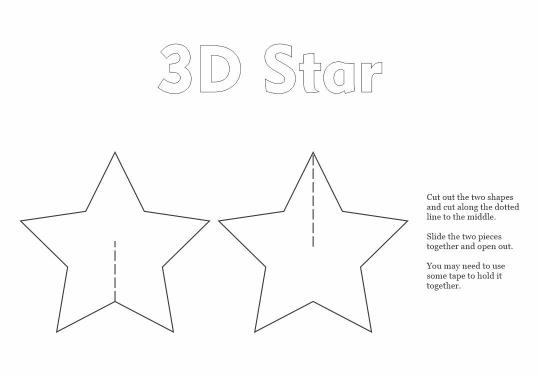 5 Images of 3D Star Printable Template