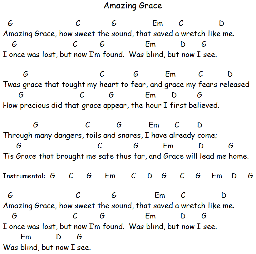 9 Best Images of Amazing Grace Chords To Words With Printable - Amazing Grace Song Lyrics ...