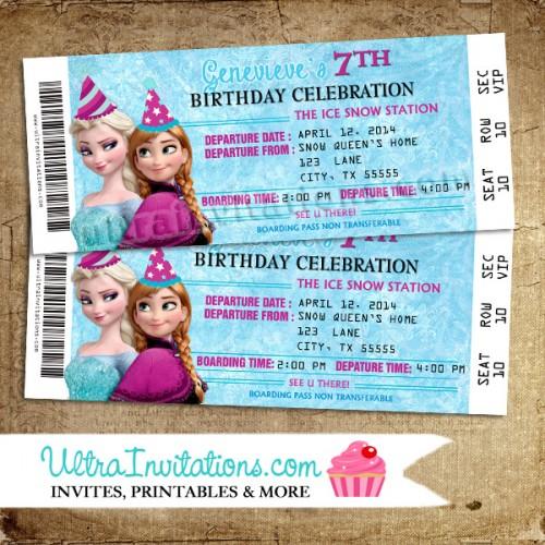 Anna and Elsa Frozen Birthday Invitation