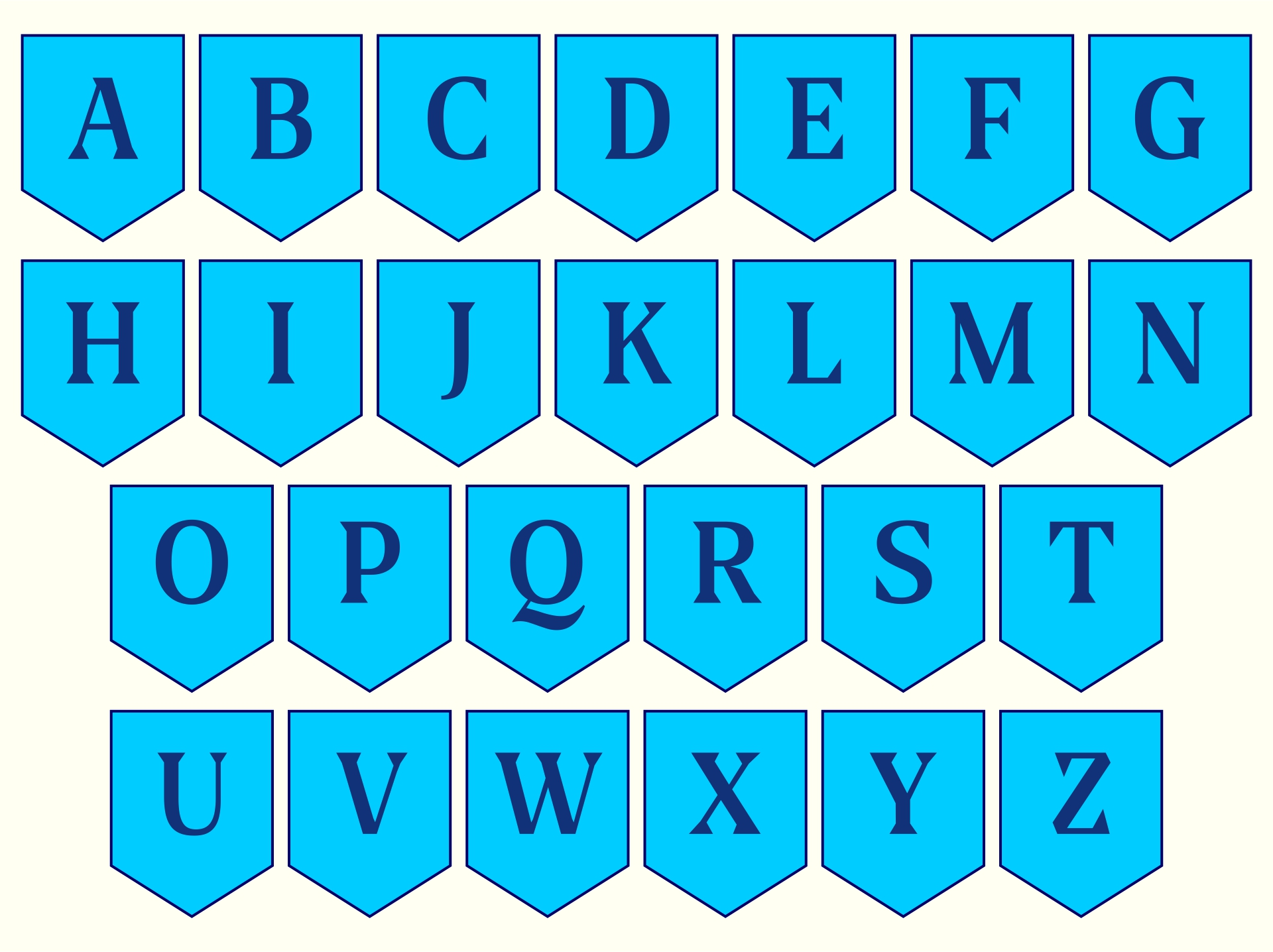 Blue Banner Free Printable Letters