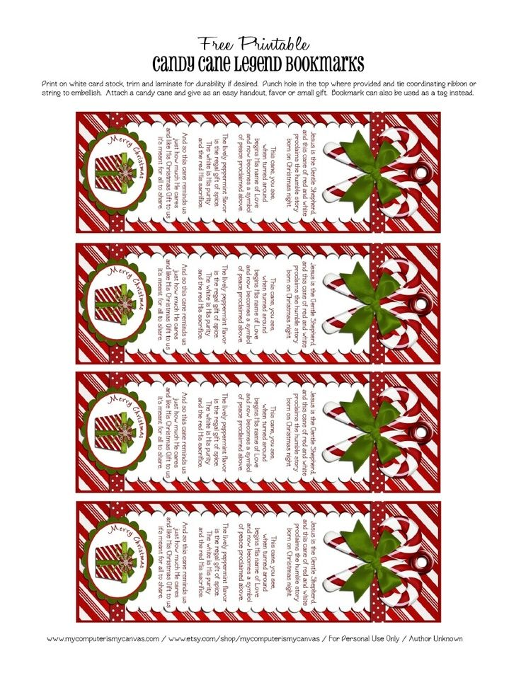 5 Images of Free Printable Christmas Candy Cane Bookmarks
