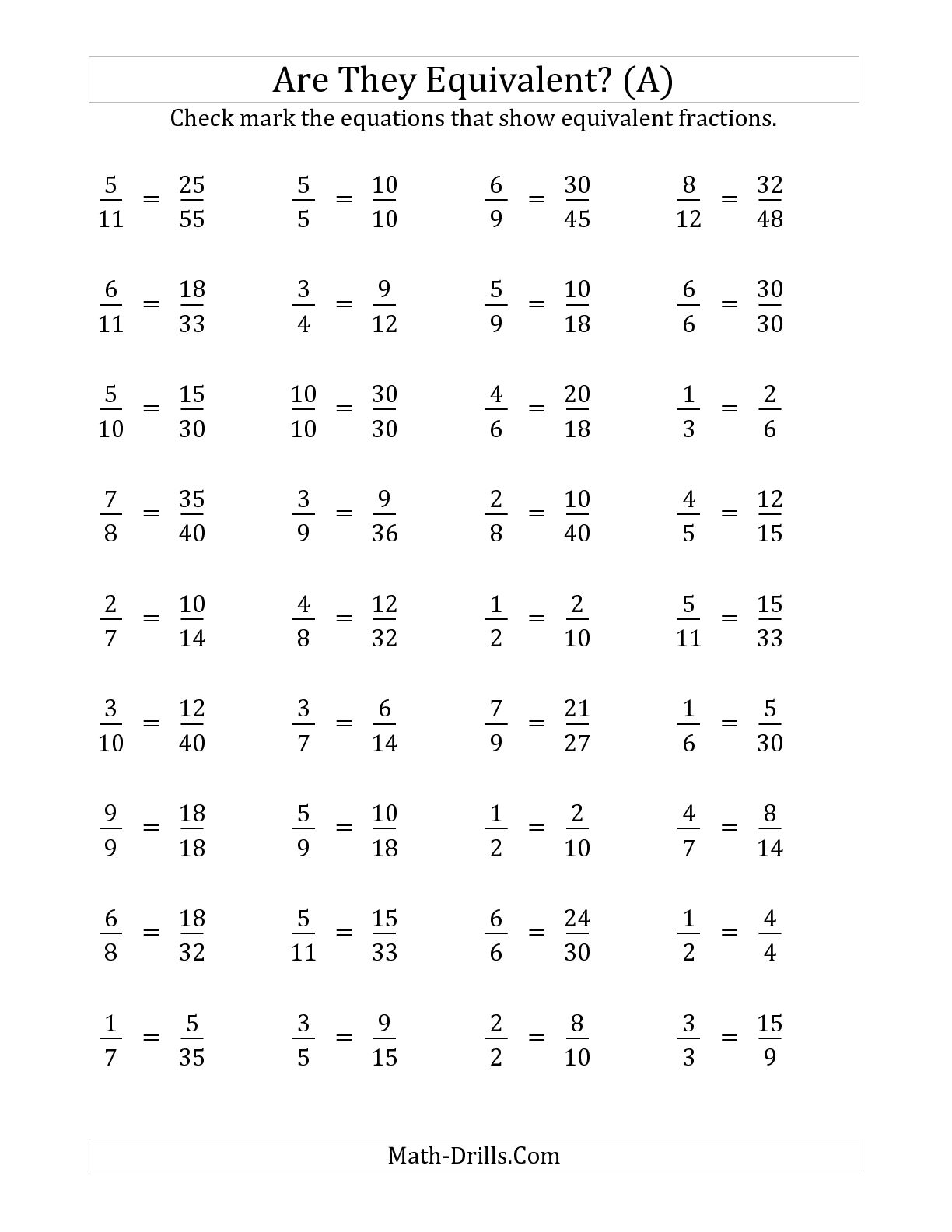 Worksheet Equivalent Fractions Worksheet Grade 4 Mikyu Free – Fraction Strips Worksheets