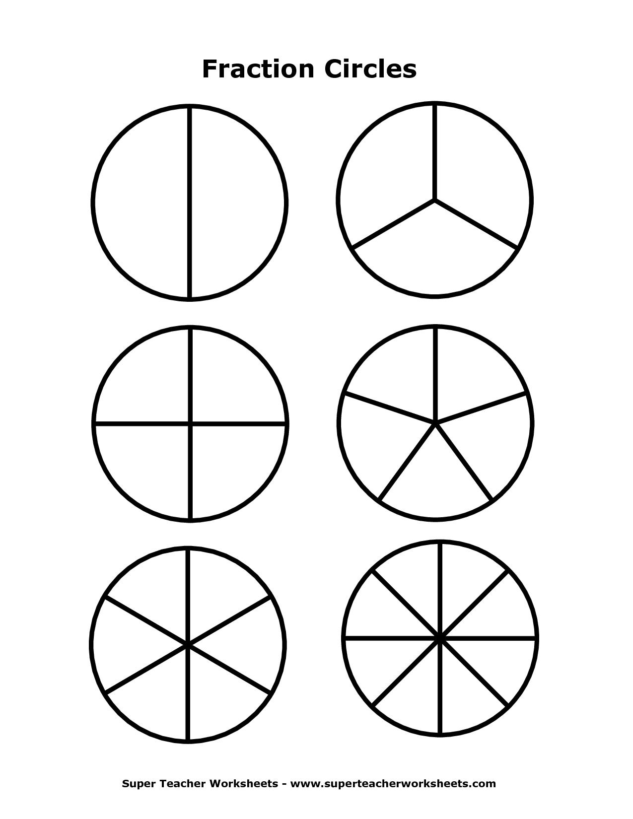 math worksheet : 6 best images of fraction template printable  fraction circles  : Fractions Super Teacher Worksheets