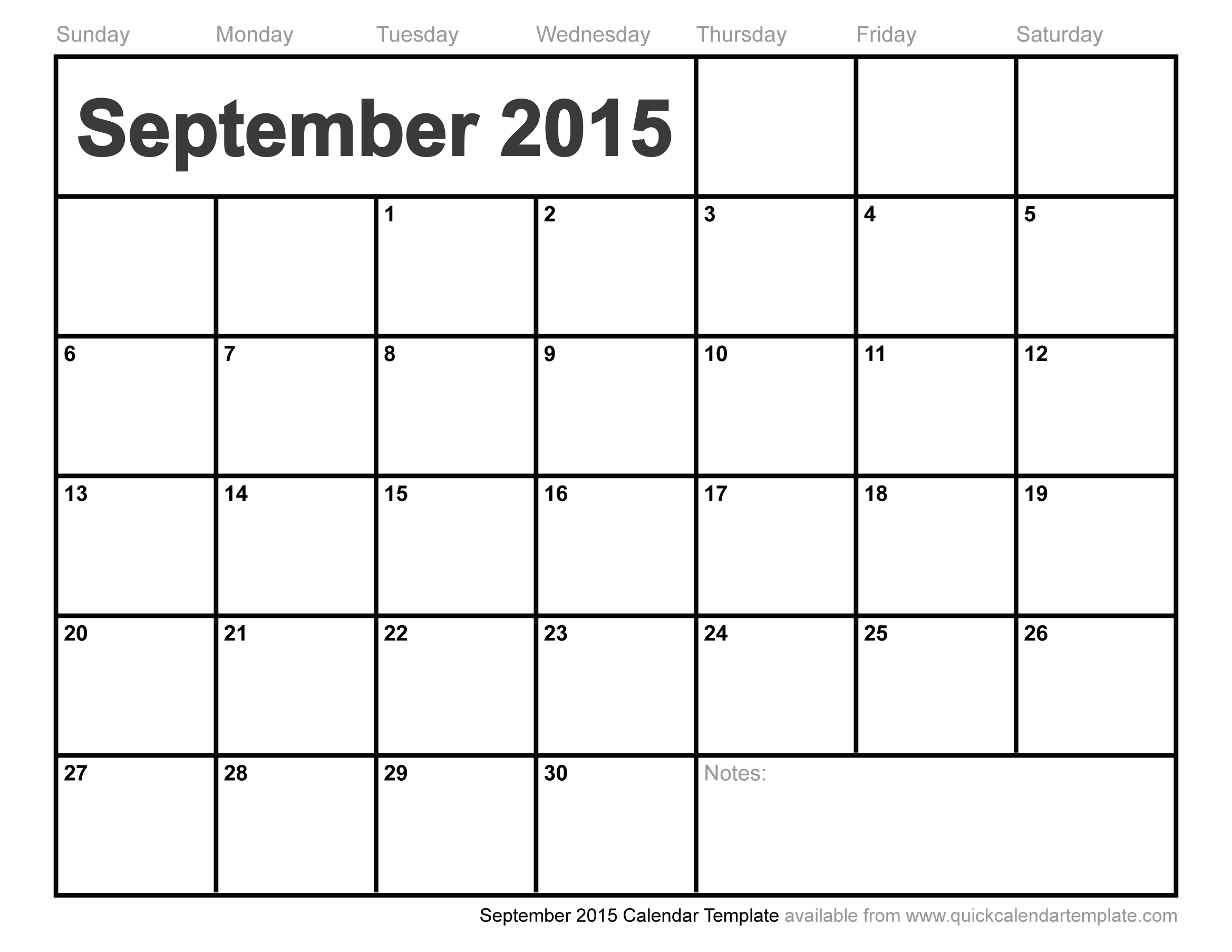 5 Images of September 2015 Calendar Printable Template