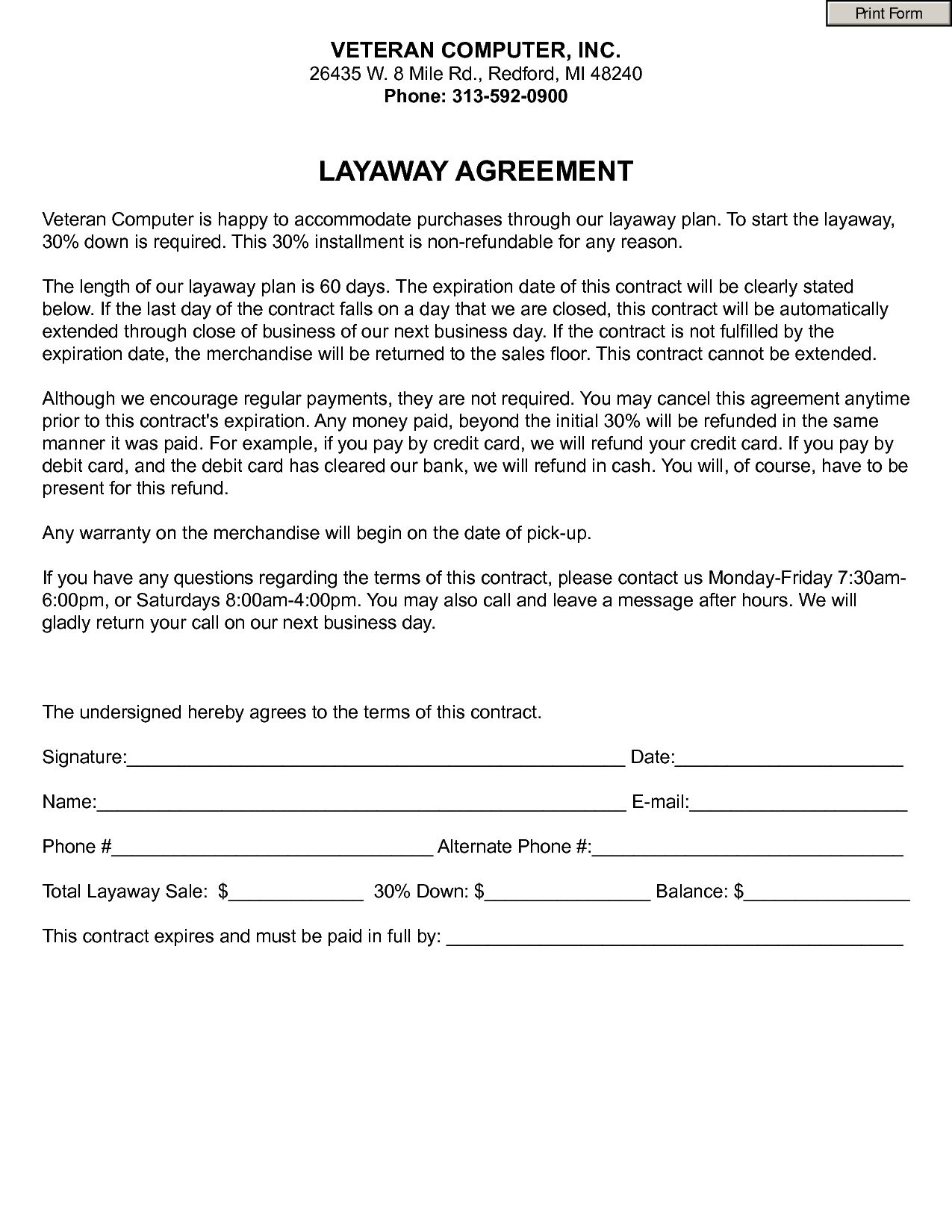 6 best images of retail layaway forms printable free layaway agreement forms free layaway. Black Bedroom Furniture Sets. Home Design Ideas