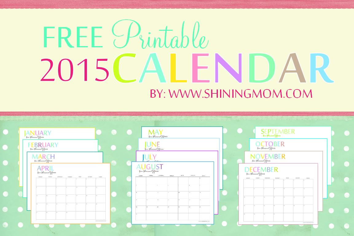 Free Printable 2015 Monthly Calendars 8 X 11