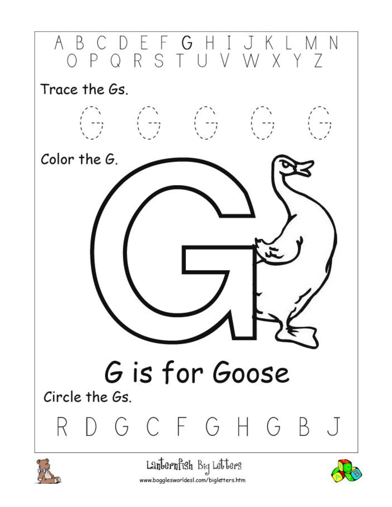 Coloring sheet letter g - Letter G Coloring Sheet Eume The For Goose Lowercase