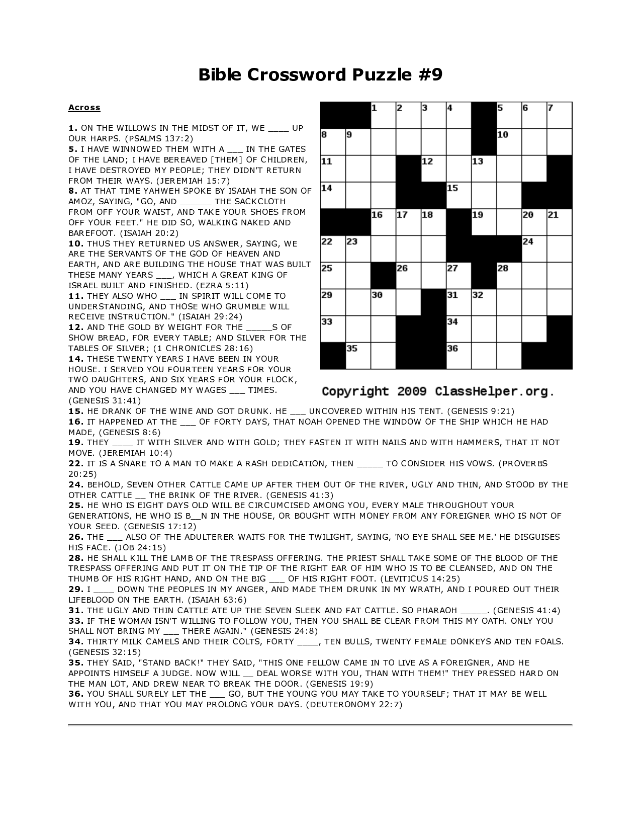 Obsessed image with bible crossword puzzles printable with answers