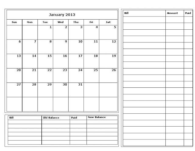 Bill Organizer Template - Printable Business Form Templates