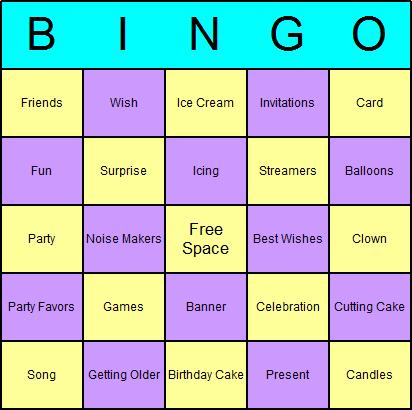 Free Printable Birthday Bingo Cards