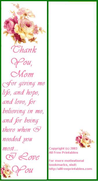 Free Printable Bookmarks for Mother's Day Templates