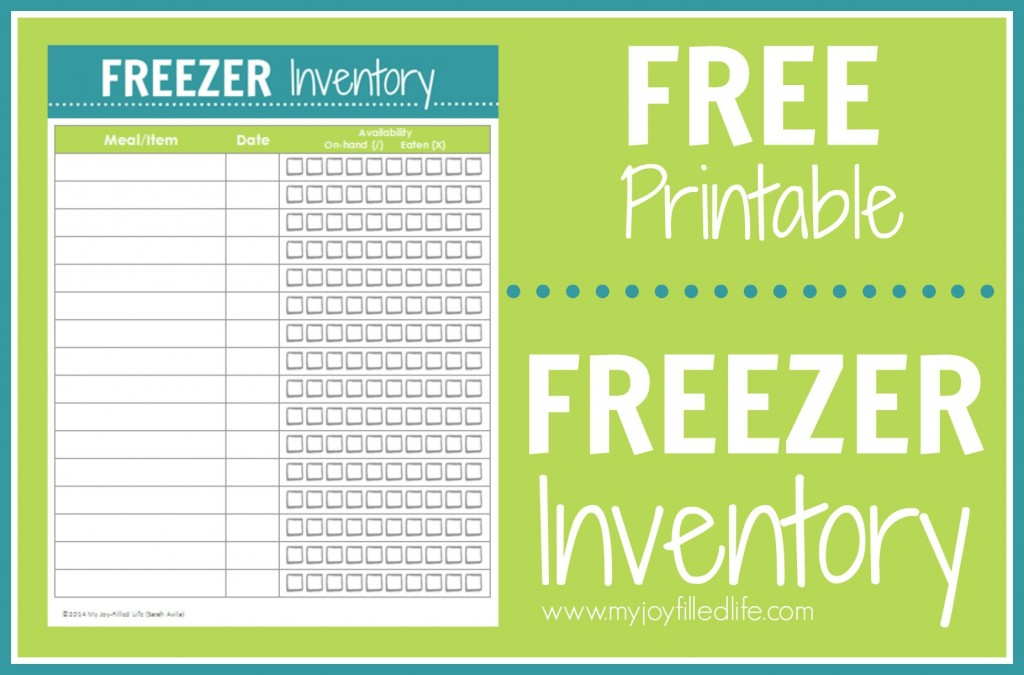 6 Images of Freezer Inventory Printable