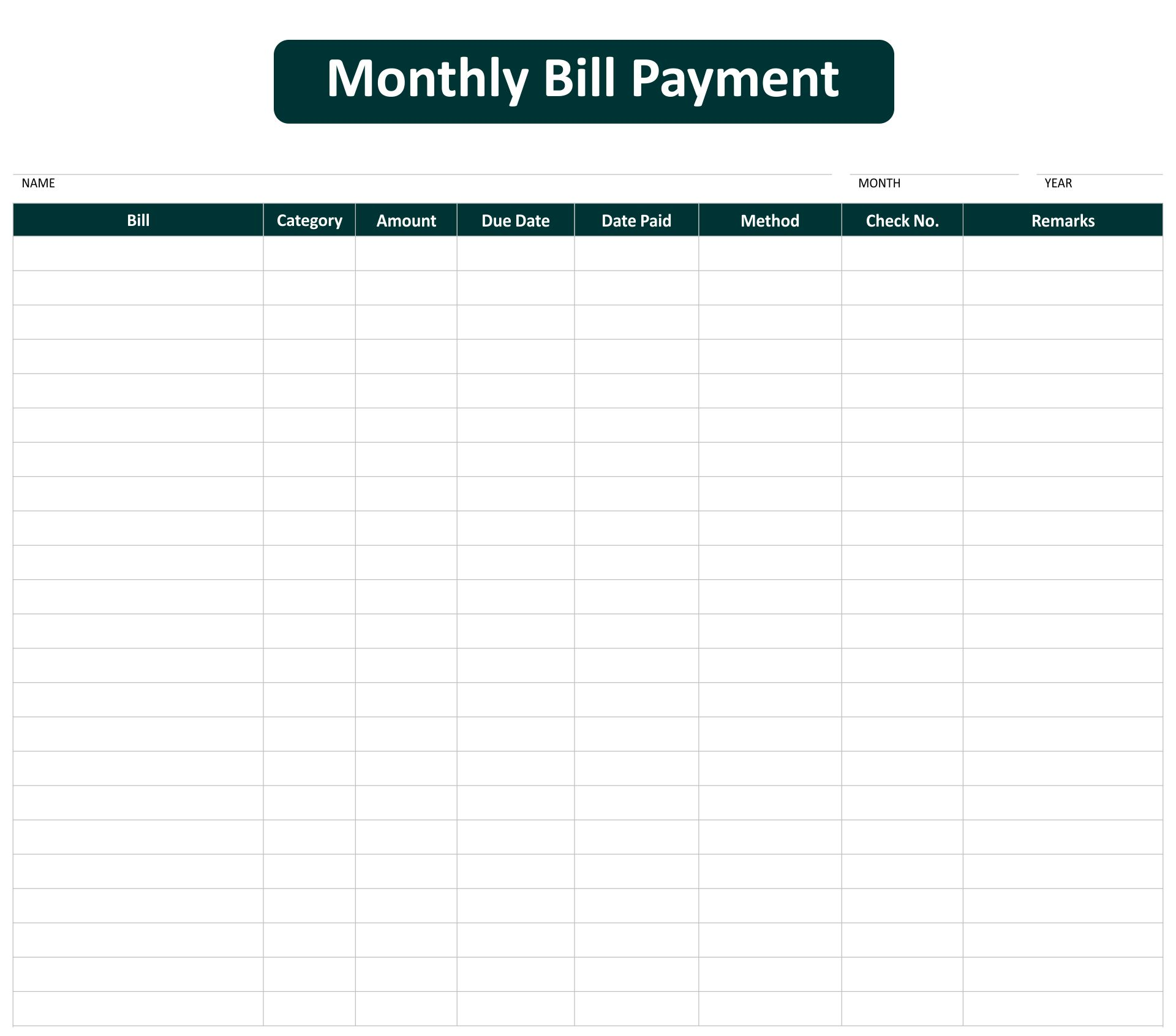 5 Best Images of Free Printable Pay Chart Printable Bill Payment – Bill Organizer Chart