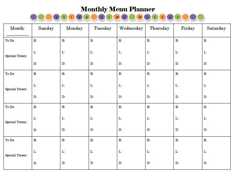 6 Images of Printable Monthly Menu Planner