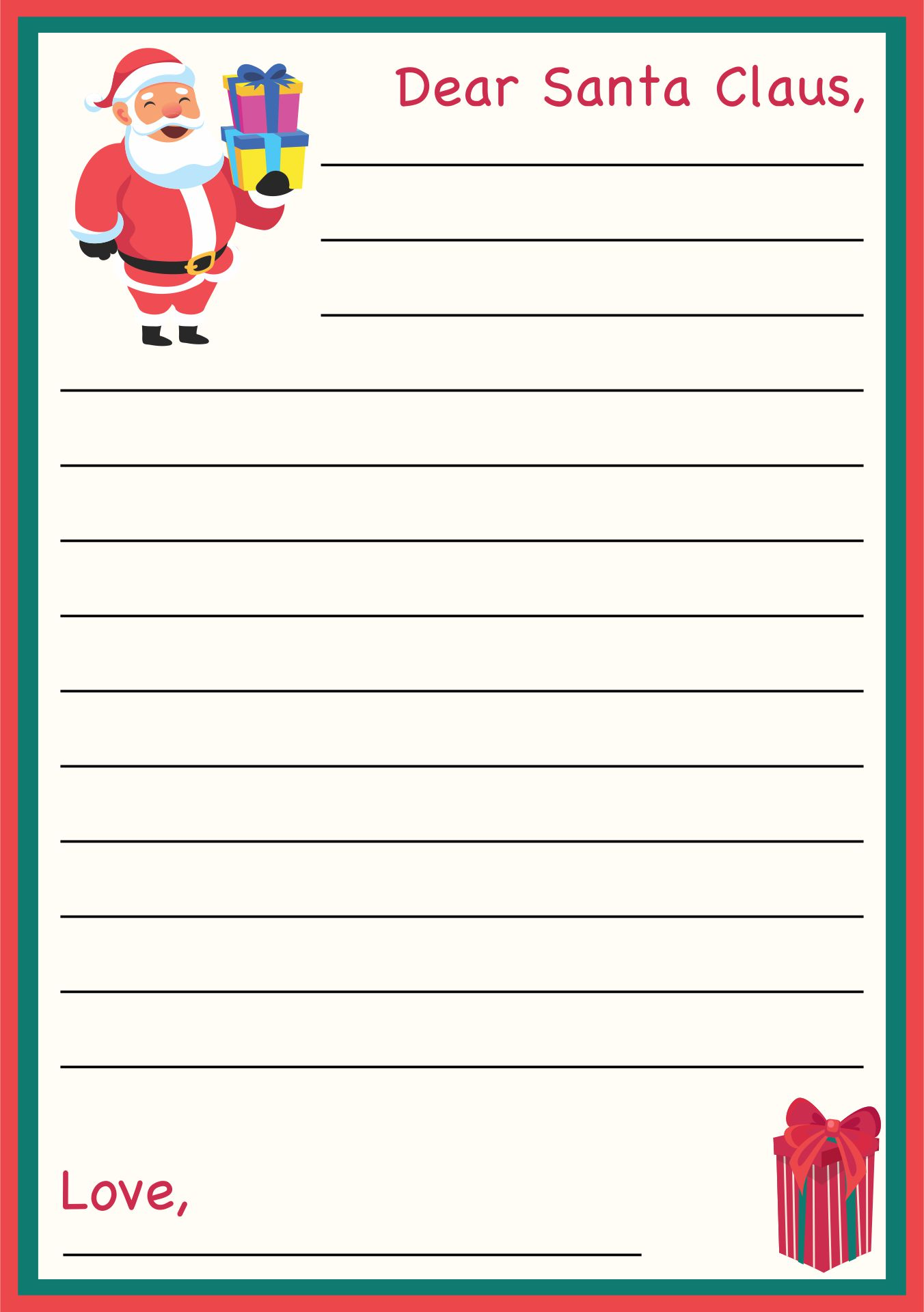 9 Images of Christmas Santa Letter Printable